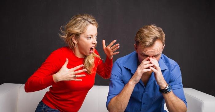 Woman yelling at man